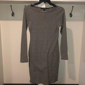 Fitted black & gray stripe dress